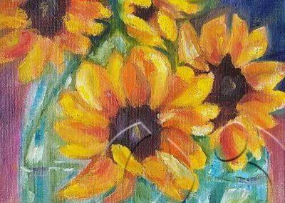017194 sunflower in bottles