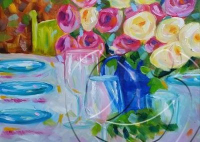 018220 Glas of rose and roses 2