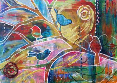 015098 Healing birdies70x50 sw
