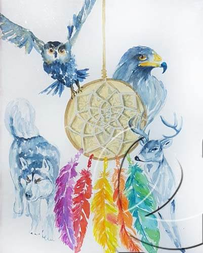 019312 dreamcatcher with totem animals