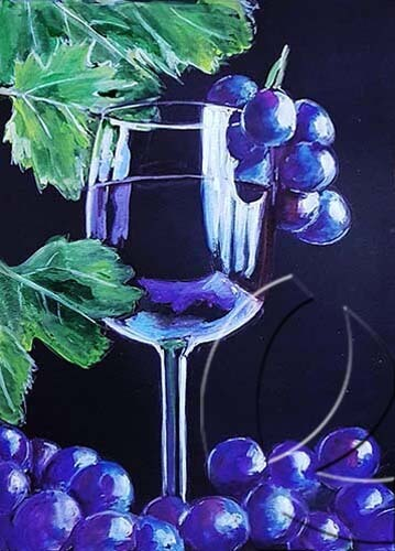 019330 Grapes and vine on black paper