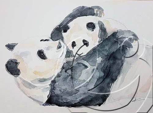 020349 Mothers love - pandas