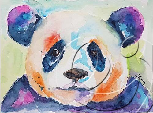 020350 Colorful panda head